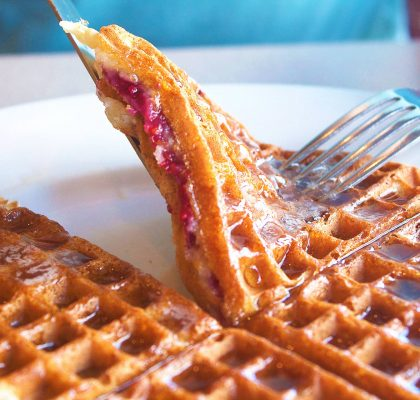 Hot Raspberry Waffles at The Waffle House | tryhiddengems.com