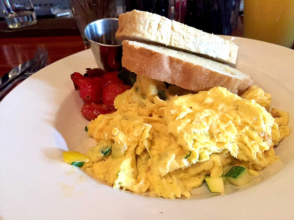 Zucchini Scrambled Eggs at Twisted Fork | tryhiddengems.com