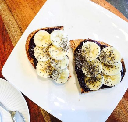 Butter Banana Toast at Olive + Ruby Cafe | tryhiddengems.com